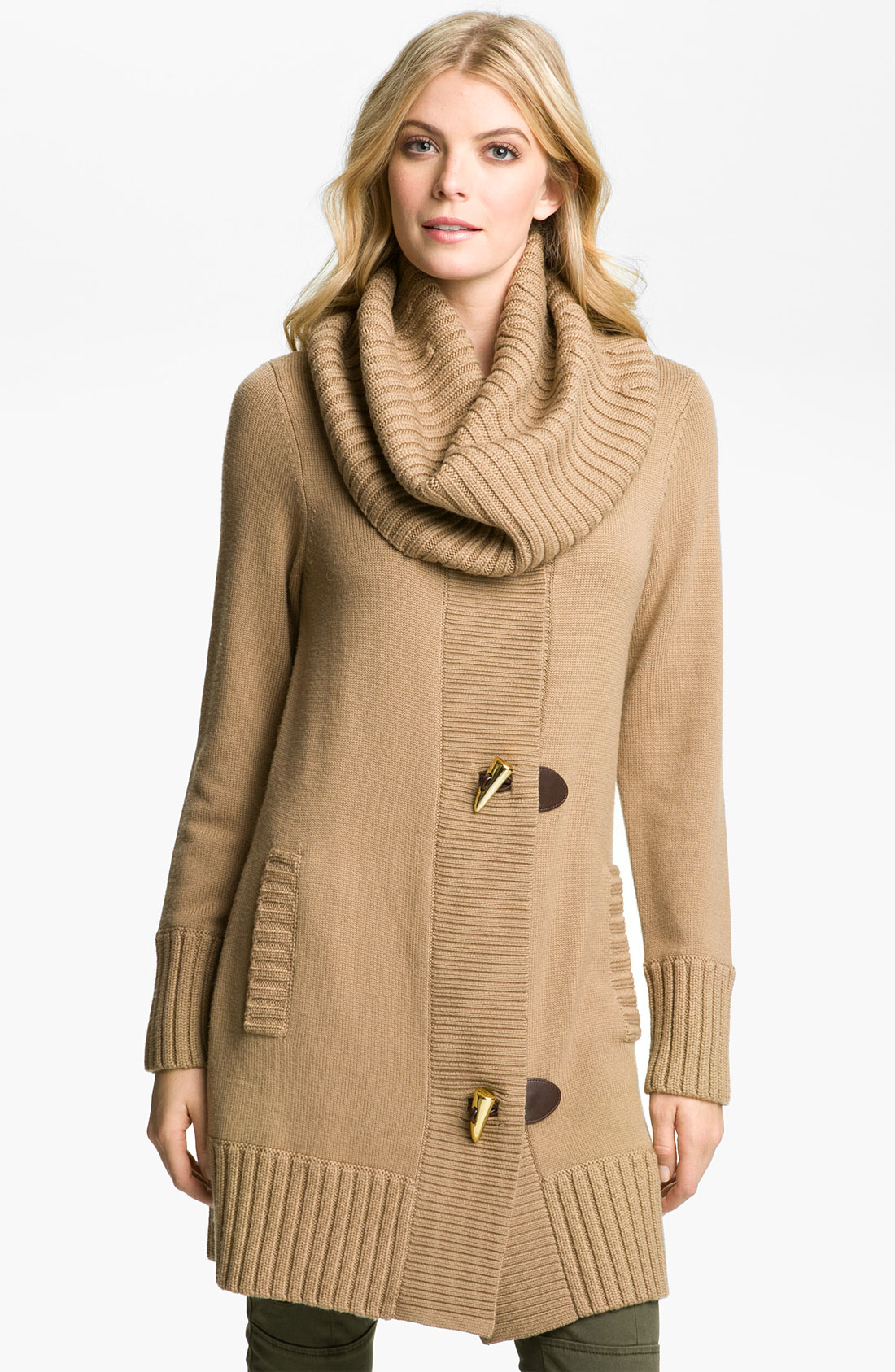 Michael michael kors Toggle Sweater Coat in Brown | Lyst