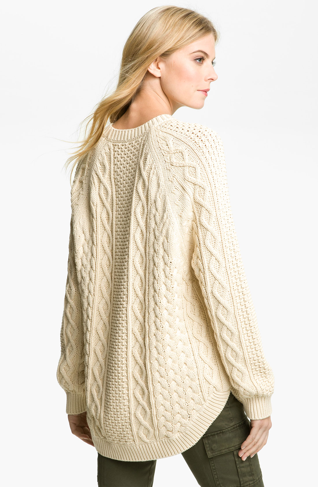Michael michael kors Fisherman Cable Knit Sweater in Natural   Lyst