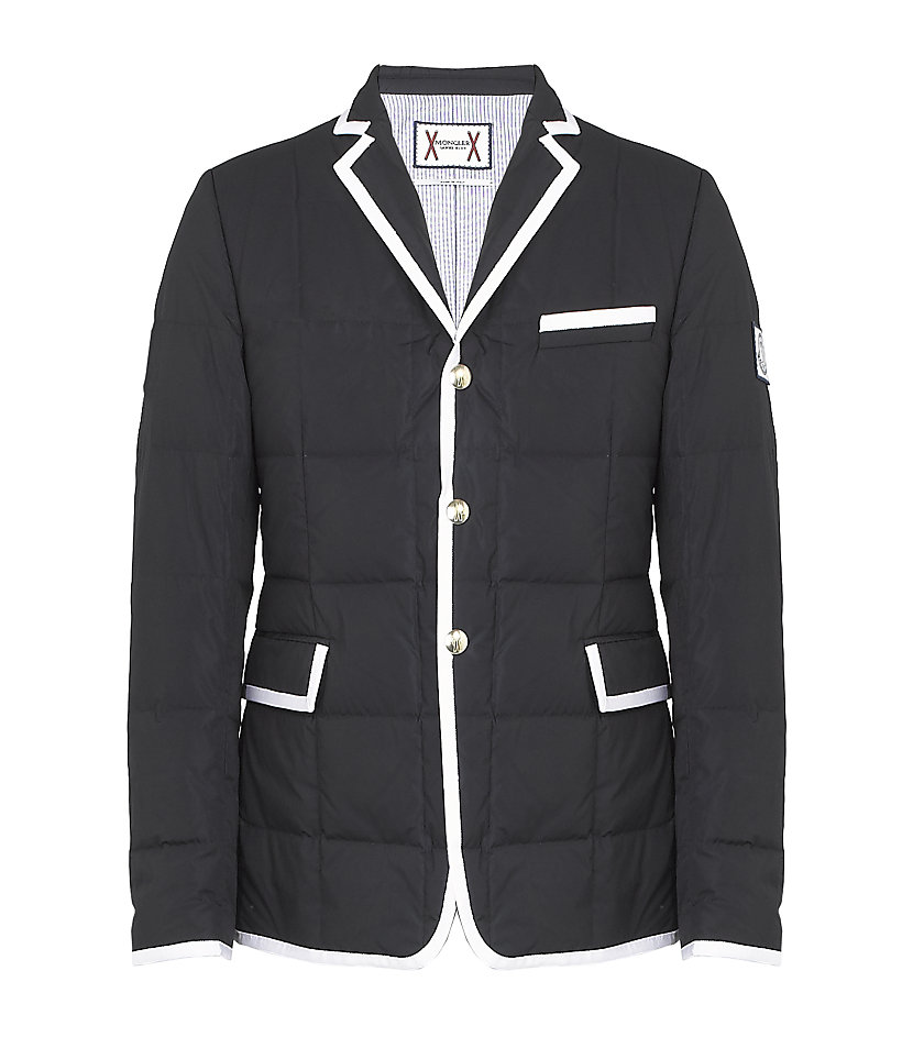 Quilted Blazers: Moncler Gamme Bleu Quilted Blazer In Blue For Men (white