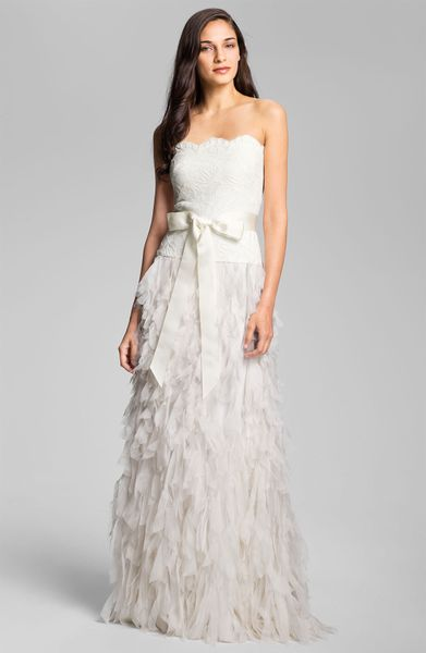 Tadashi shoji strapless raw edge chiffon gown in white for Tadashi shoji wedding dresses