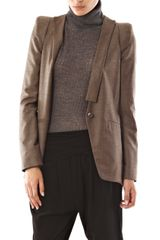 Vanessa Bruno Collarless Jacket in Beige (oatmeal) - Lyst