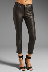 10 Crosby by Derek Lam Leather Cropped Slim Pant - Lyst