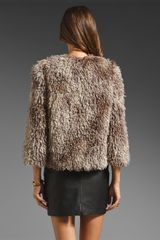 Anna Sui Mongolian Faux Fur Jacket in Animal (grey multi) - Lyst