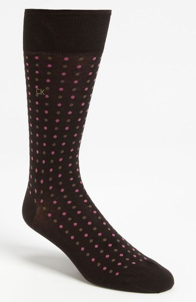Calvin Klein Dot Socks in Gray for Men (chocolate/ pink) - Lyst