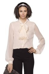 Oscar de la Renta Long Sleeve Blouse with Neck Tie - Lyst