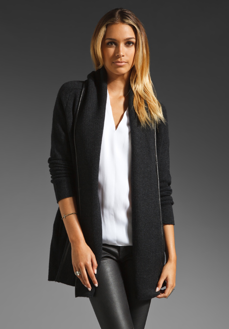 Black Coat With Leather Trim - Coat Nj