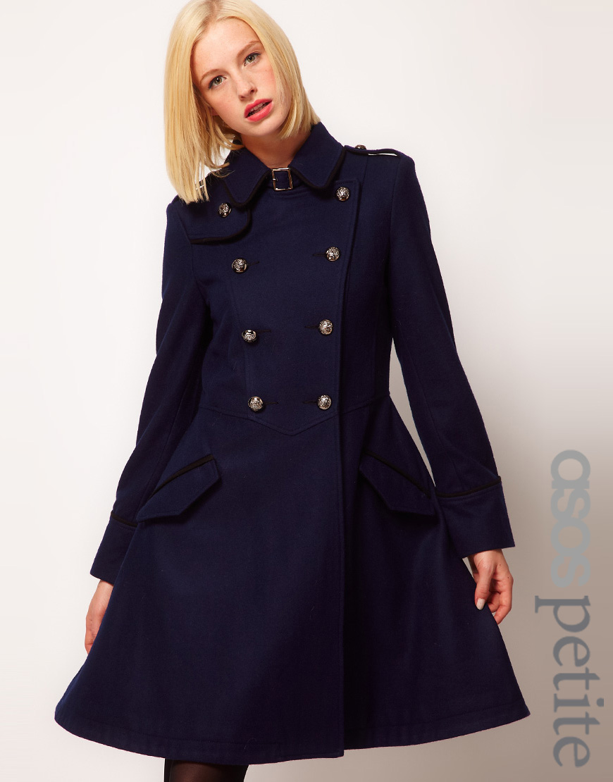 Asos Military Fit And Flare Coat In Blue Lyst