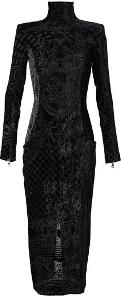 Balmain Devore Velvet Gown in Blue (midnight)