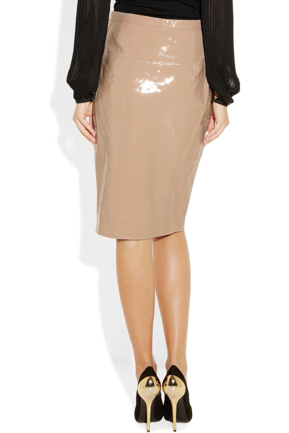 Emilio pucci Patent-leather pencil skirt in Pink | Lyst