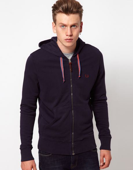 fred perry sweat hooded zip in blue for men navyblue lyst. Black Bedroom Furniture Sets. Home Design Ideas