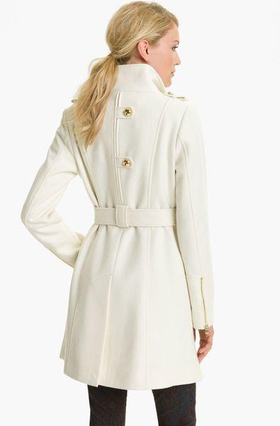 Guess Belted Asymmetrical Coat In Beige Winter White Lyst
