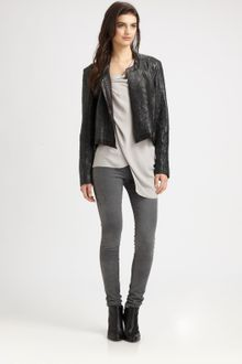 Helmut Lang Crystal Cropped Leather Jacket - Lyst