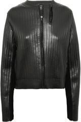 Lanvin KnitEffect Leather Jacket in Black - Lyst