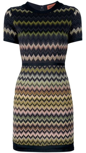 Missoni Fitted Zig Zag Dress in Black - Lyst