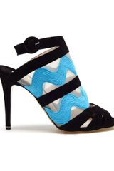 Nicholas Kirkwood Ric Rac Suede Peep Toe Sandals in Blue (black) - Lyst