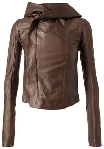 Rick Owens Leather Hooded Jacket - Lyst