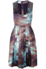 Rochas Printed Pleat Dress - Lyst