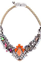 Shourouk Cut Glass Floral Necklace - Lyst