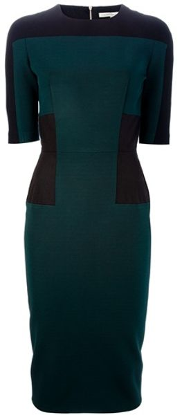 Victoria Beckham Pencil Dress in Green - Lyst