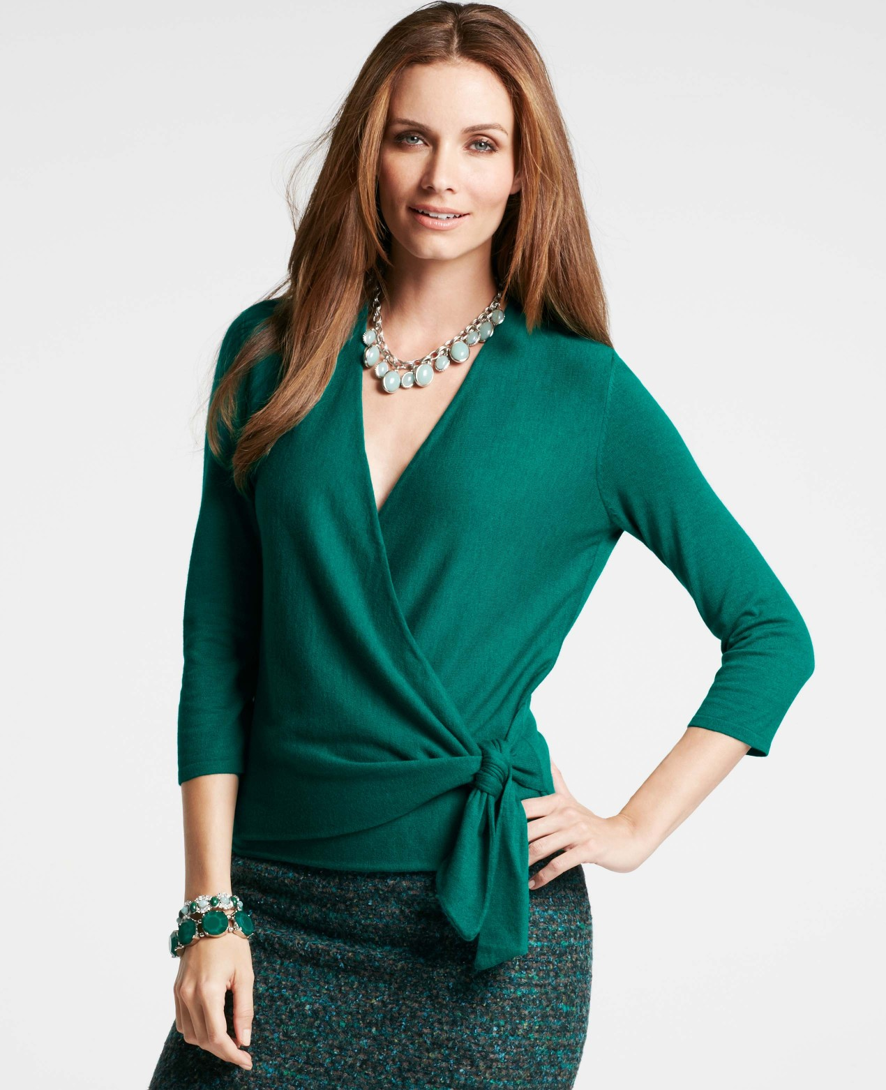 830badb65f6 Ann Taylor 34 Sleeve Wrap Sweater in Green - Lyst