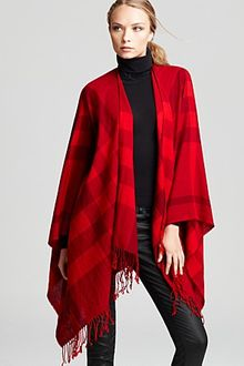 Burberry Collette Half Mega Check Fine Wool Cape - Lyst
