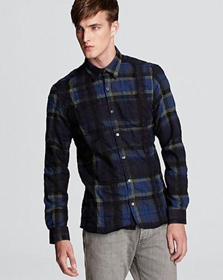 Burberry adken flannel sport shirt in blue for men cobalt for Women s slim fit flannel shirt
