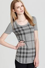 Burberry Brit Short Sleeve Check Scoop Neck Tee - Lyst