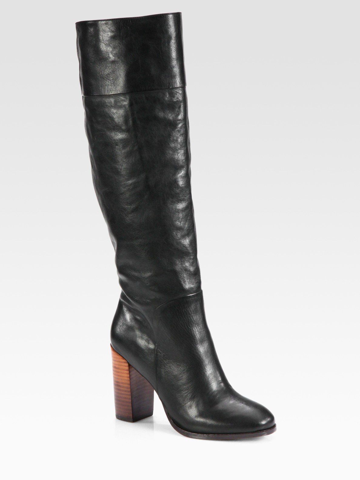 dolce vita makala leather kneehigh boots in black lyst