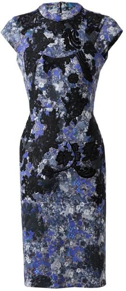 Erdem Elina Handembroidered Multiprene Dress in Blue (blue grey) - Lyst