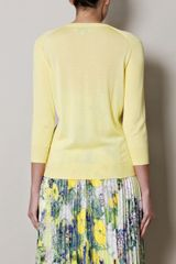 Erdem Yanne Printed Front Cardigan in Yellow (lemon) - Lyst