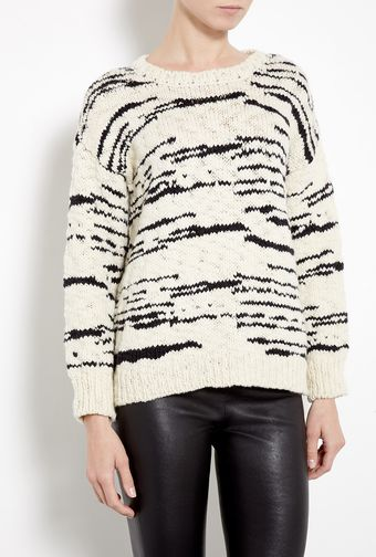 Iro Cream and Black Merino Knitted Jumper - Lyst