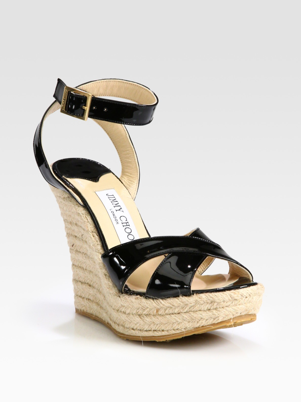 6c72156f80dd ... discount lyst jimmy choo paisley patent leather espadrille wedge  sandals in dedc7 4cd3a
