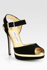 Jimmy Choo Pavlova Suede Metallic Leather Platform Sandals - Lyst