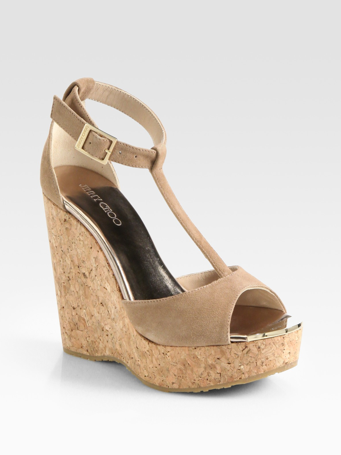 Jimmy Choo Suede T-Strap Wedges sale latest Cheapest cheap online sale get to buy qNQDPWE