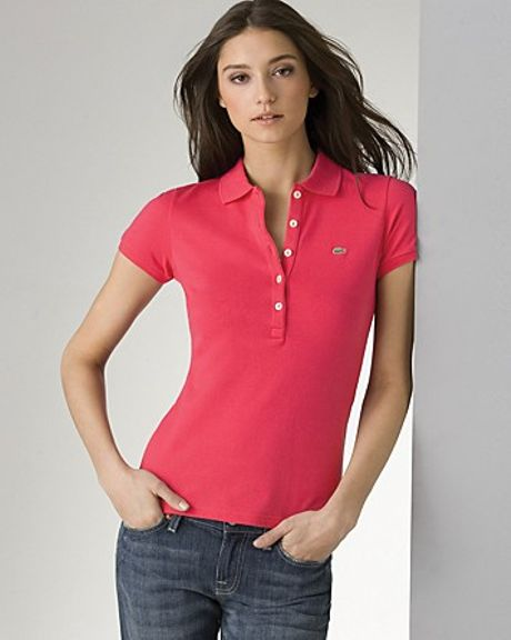 Lacoste Five Button Polo Shirt in Pink (gypsy pink) | Lyst