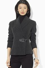 Lauren by Ralph Lauren Tariq Shawl Collar Jacket with Leather Buckle - Lyst