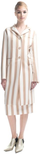Marc Jacobs Large Stripe Satin Gabardine Coat in Nude in Red (nude stripe) - Lyst