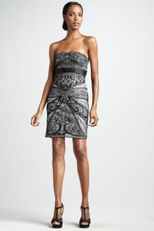 Sue Wong Strapless Paisley Cocktail Dress - Lyst