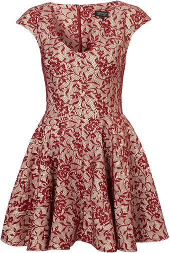 Topshop Bonded Red Lace Skater Dress - Lyst