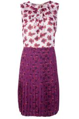 Tory Burch Floral Pleated Dress in Floral - Lyst