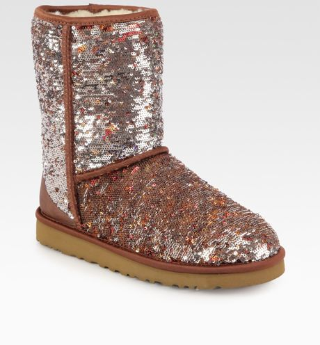 ugg classic sequin boots in brown autumn lyst