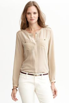 Banana Republic Heritage Silk Military Shirt - Lyst