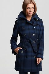 Burberry Brit Double Breasted Belted Check Print Wool Coat in Blue (colonial blue) - Lyst
