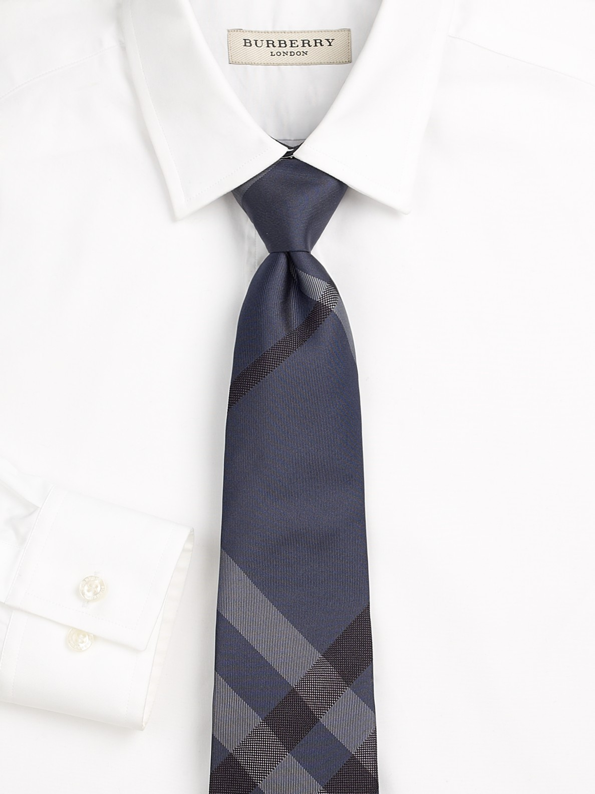 burberry tonal checked silk tie in purple for teal