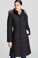 Calvin Klein Coat with Faux Fur Hood in Black - Lyst