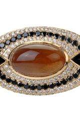 Deborah Pagani Diamond Golden Moonstone Onyx Twila Ring - Lyst