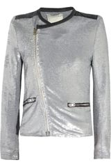 Iro Longina Sequined Jersey and Leather Jacket
