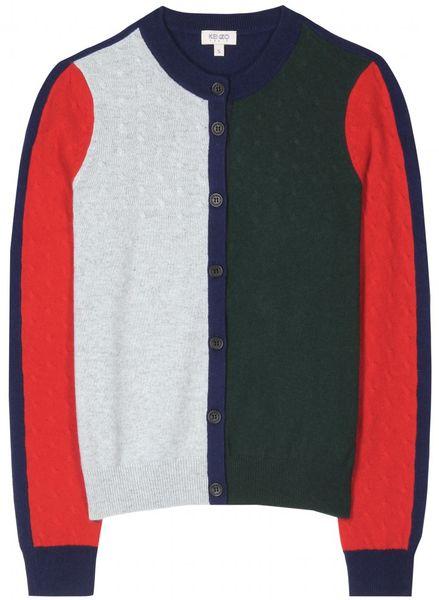Kenzo Color Block Cashmere Cardigan in Multicolor (blue)
