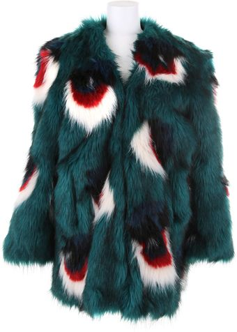 Meadham Kirchhoff Multicolor Faux Fur Coat in A Blend Of Acrylic - Lyst