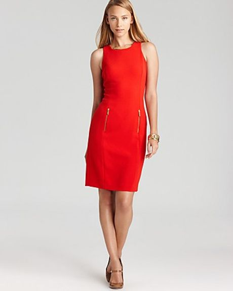 Michael Kors Sleeveless Dress with Curved Zips in Red (red blaze) - Lyst
